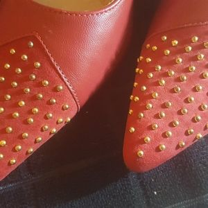 VanEli Red Leather & Suede Heels from Italy 9.5 N